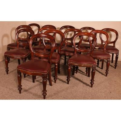 Set Of  12 Mahogany Chairs Upholstered With Leather- End Of The 19th Century