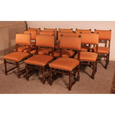 Set Of 12 Louis XIII Style Walnut Chairs