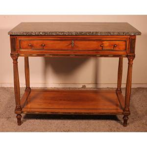 Louis XVI Console In Cherry Wood, 18th Century Stamped Lm Pluvinet