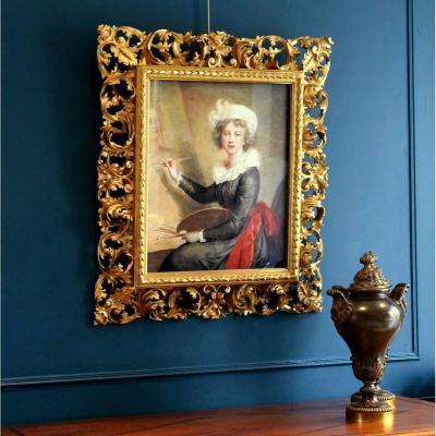 Autoportrait d'Après Elisabeth Vigée Le Brun Cadre florentin