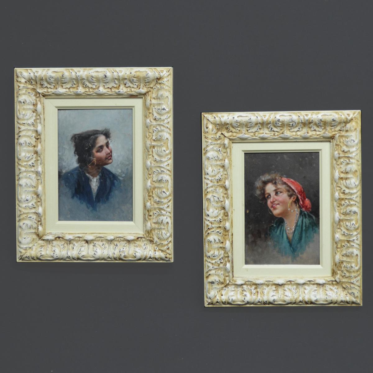 Pair Of Portraits Gitanes Neapolitan