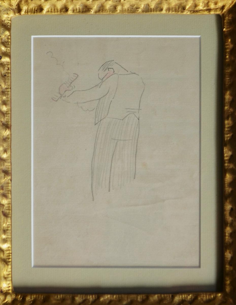 "Drawing ""gardener"" By Gustave Buchet-photo-2"