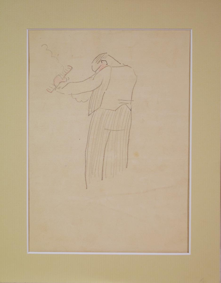 "Drawing ""gardener"" By Gustave Buchet-photo-3"