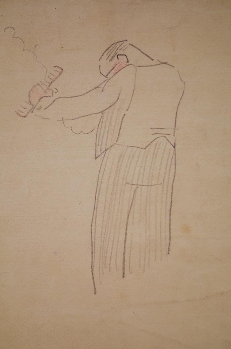 "Drawing ""gardener"" By Gustave Buchet-photo-4"