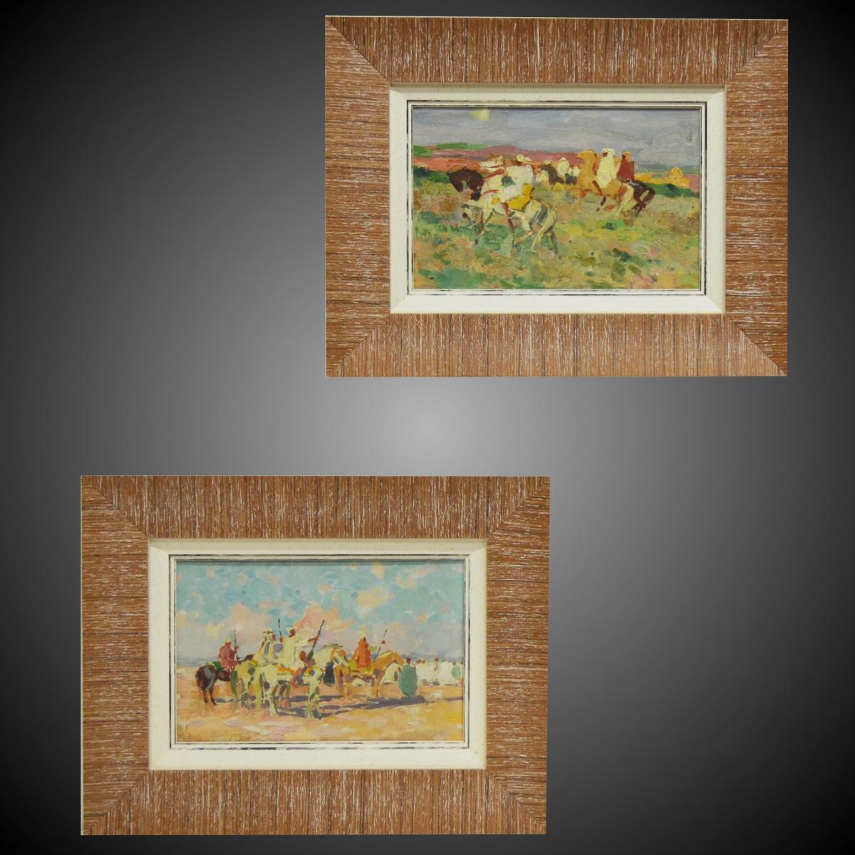 "Pair Of Orientalist Paintings ""fantasia"""