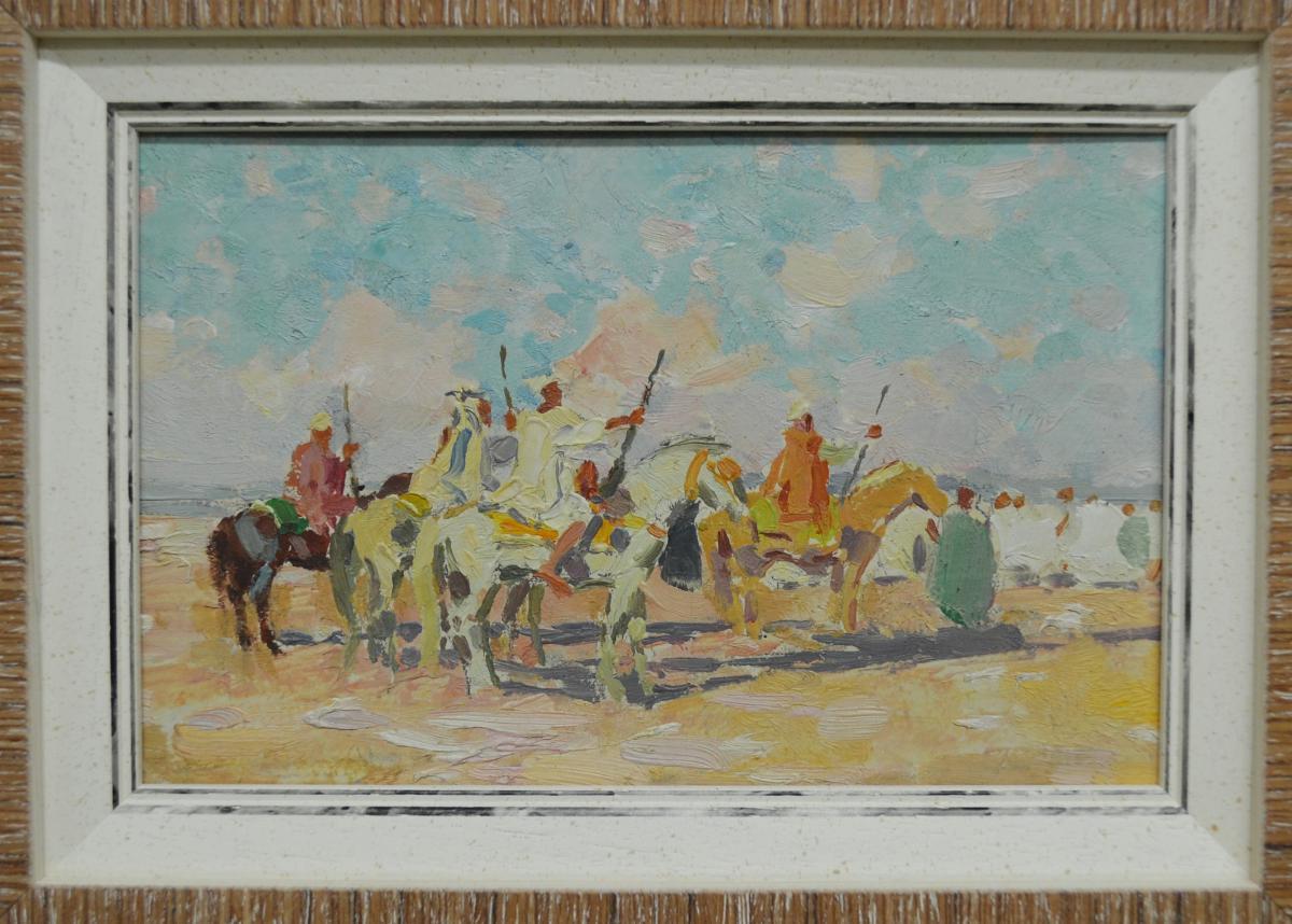 "Pair Of Orientalist Paintings ""fantasia""-photo-1"