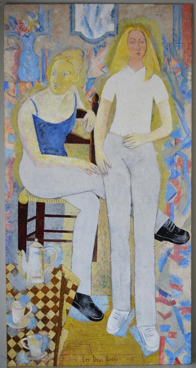 """Grande Peinture Post-cubiste """"les Deux Amies"""" 1949-photo-2"""