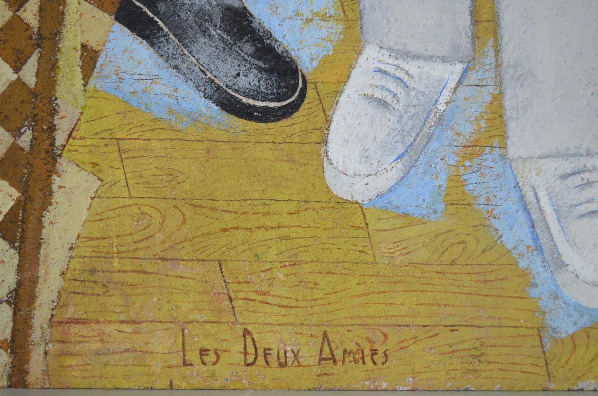 """Grande Peinture Post-cubiste """"les Deux Amies"""" 1949-photo-3"""