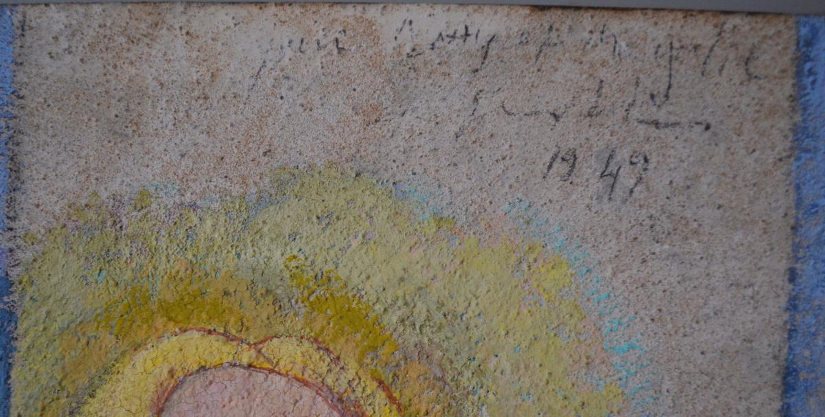 """Grande Peinture Post-cubiste """"les Deux Amies"""" 1949-photo-4"""