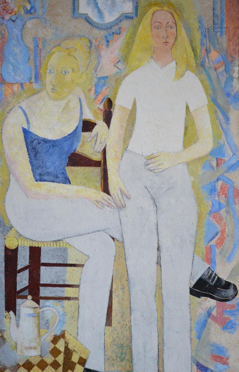 """Grande Peinture Post-cubiste """"les Deux Amies"""" 1949-photo-1"""