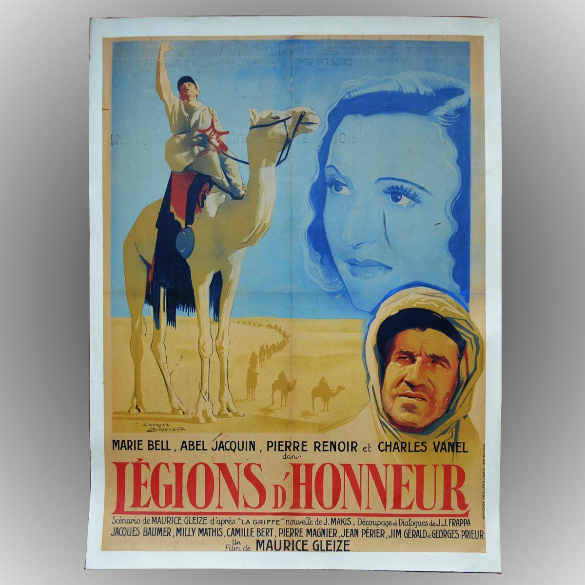 """Affiche de Cinéma """"Légions d'honneur - Maurice Gleize 1938"""""""