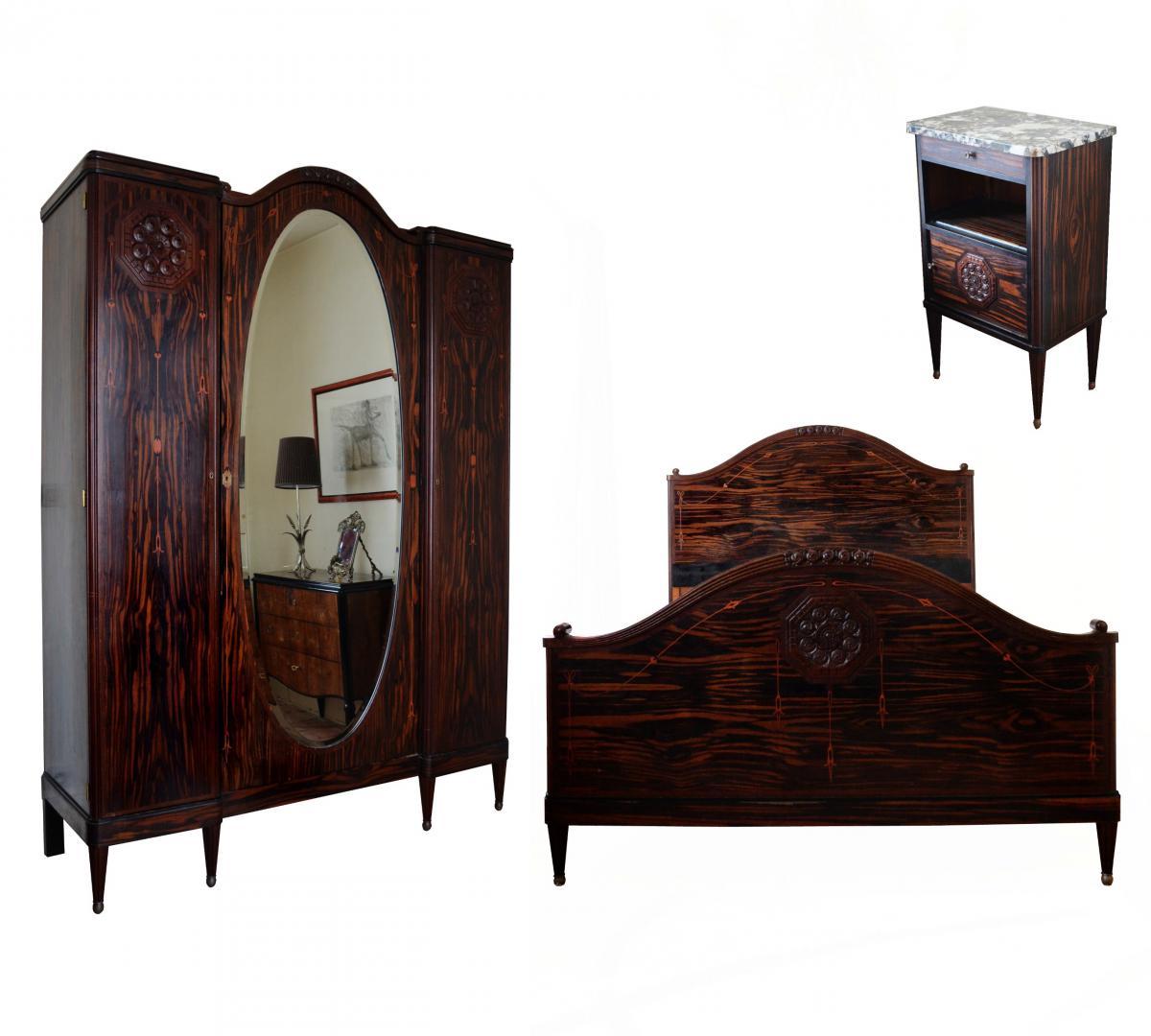 Chambre à coucher Art Déco en ébène de Macassar