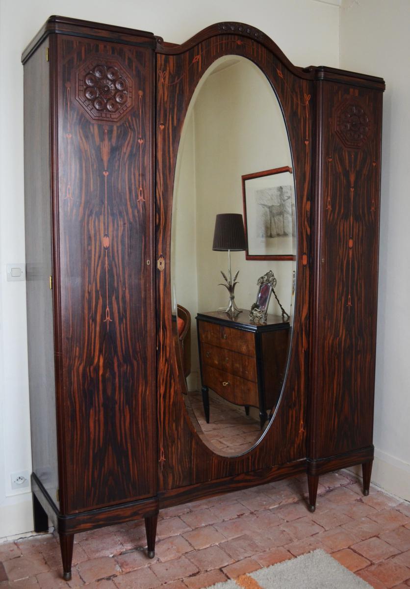 Chambre à coucher Art Déco en ébène de Macassar - lits