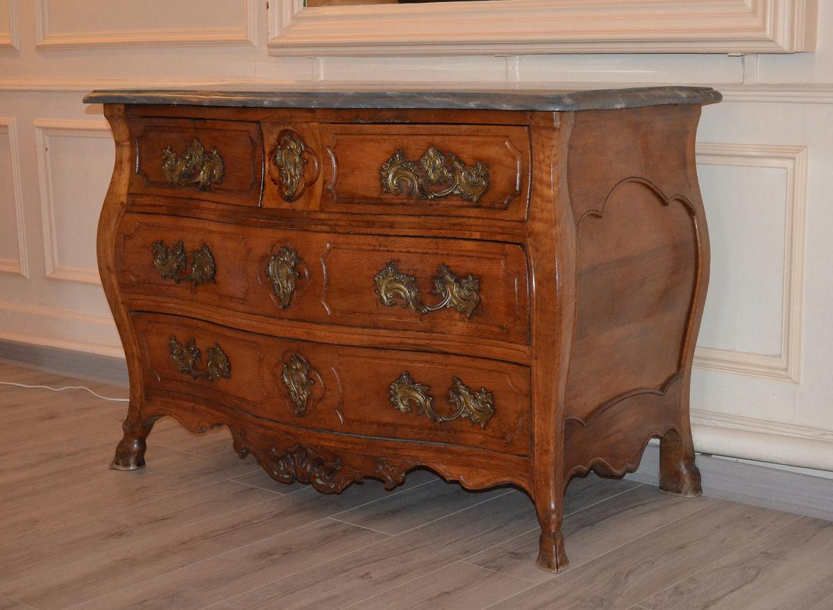 Antique Louis XV Commode In Walnut Early Eighteenth-photo-2