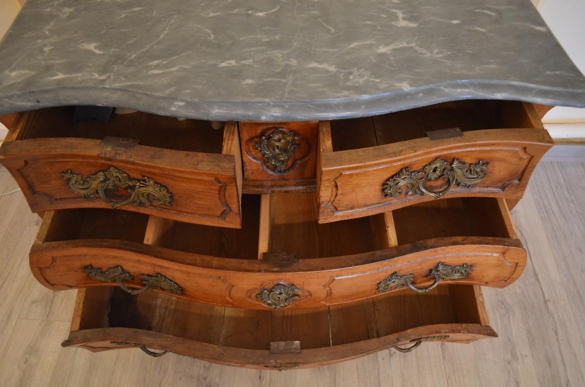 Antique Louis XV Commode In Walnut Early Eighteenth-photo-5