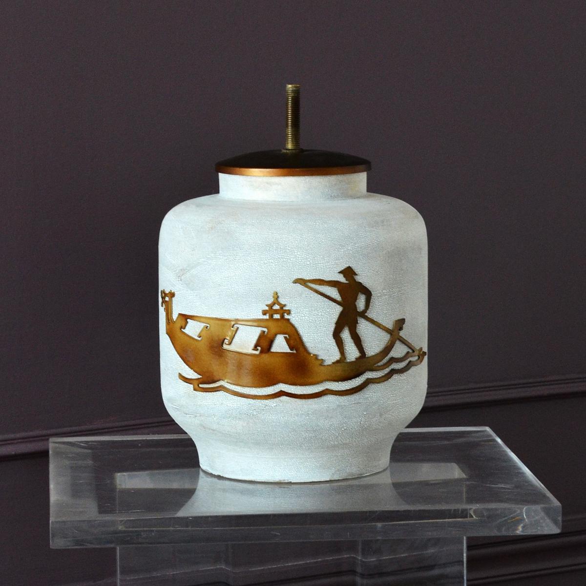 Pied de Lampe en Céramique à Décor de Gondolier Chinois