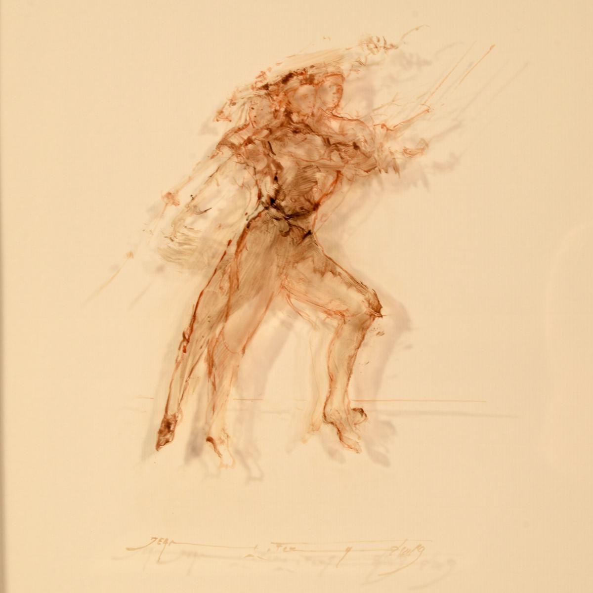 """""""Cours d'escrime"""" par Jean Fernand Huile sur Verre"""