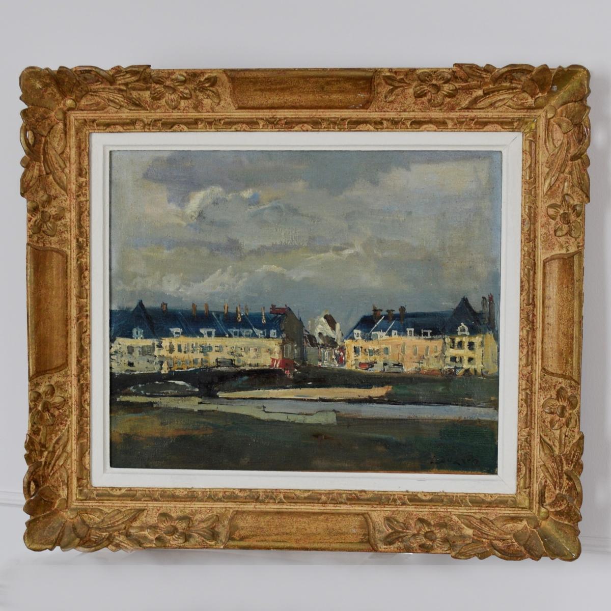 """Albert Lauzero """"Bord de l'Oise à Pontoise"""""""