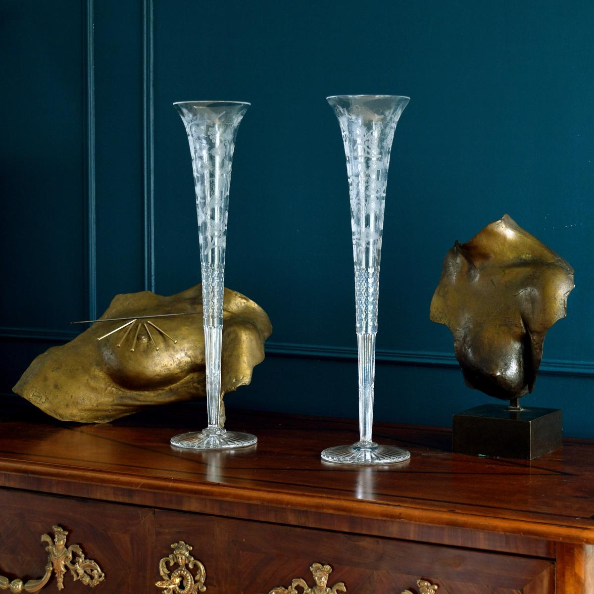 Paire de Grands Vases en Cristal Gloriana par William Yeoward Londres