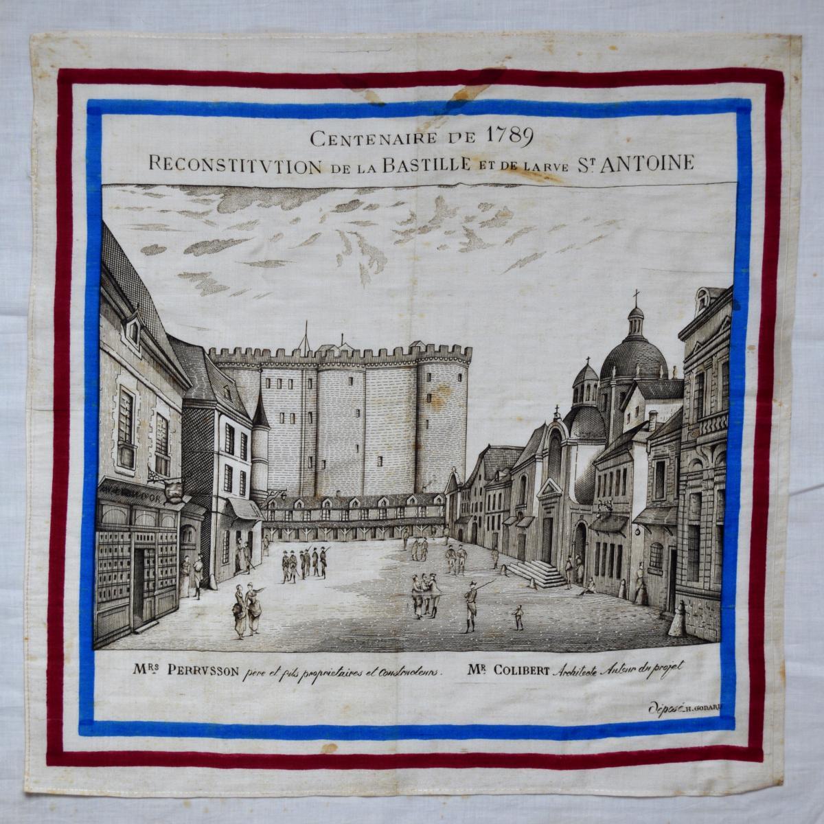 Mouchoir Centenaire De 1789 Reconstitution De La Bastille Et De La Rue Saint-antoine