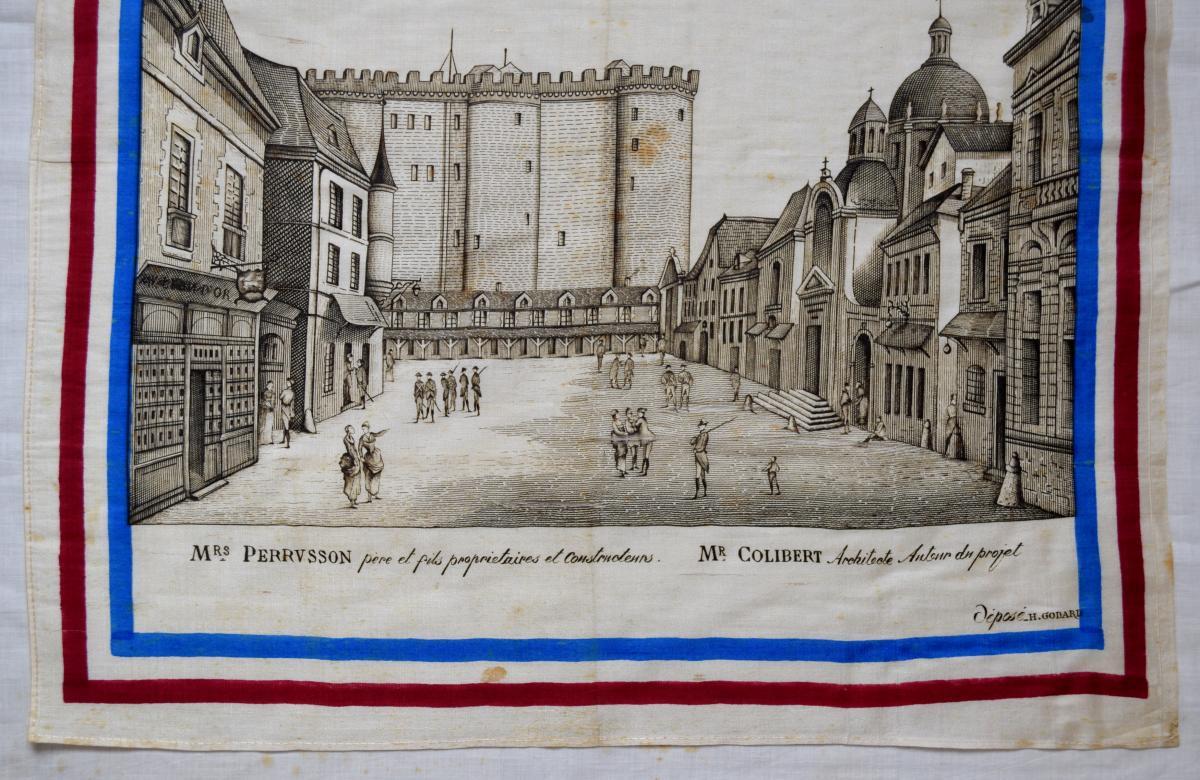 Mouchoir Centenaire De 1789 Reconstitution De La Bastille Et De La Rue Saint-antoine-photo-3