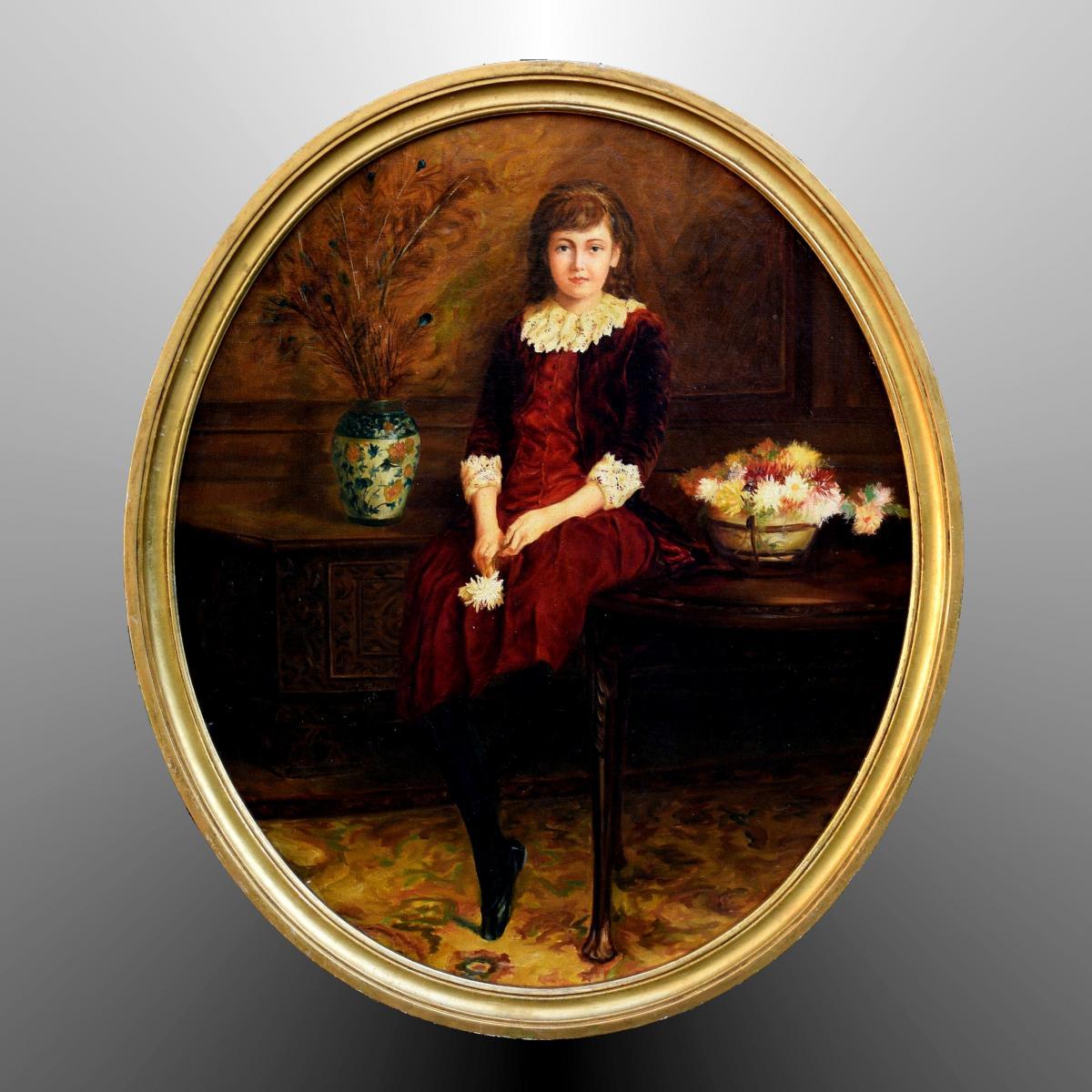 Portrait en pied de Jeune Fille, Fin XIXè Début XXè
