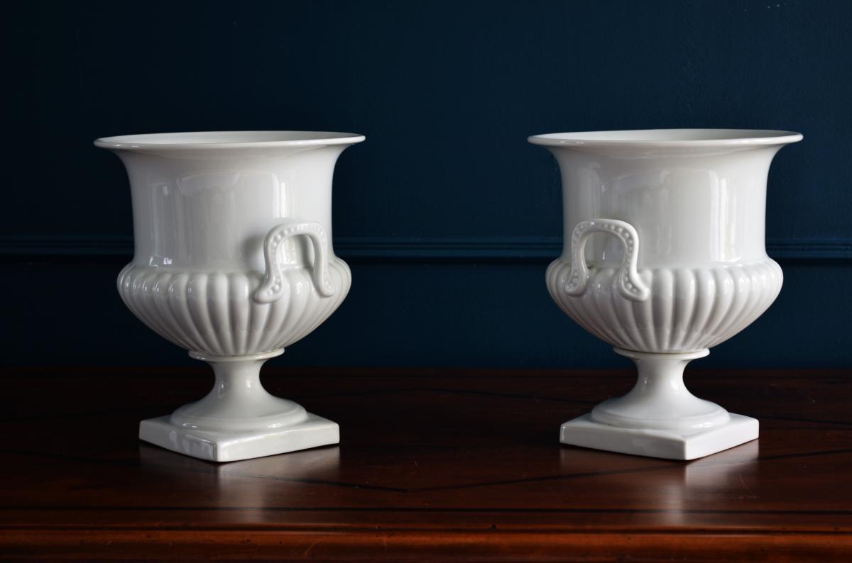 Paire de Vases Porcelaine blanche Limoges-photo-2