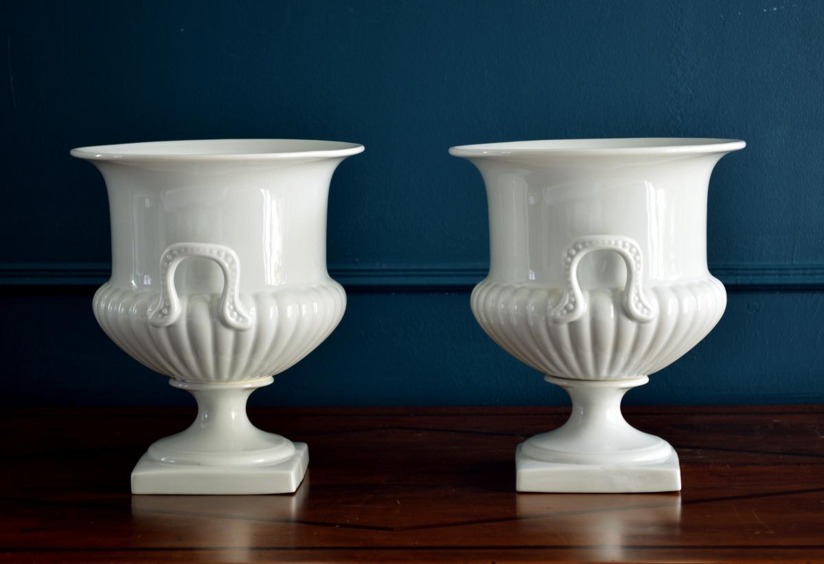 Paire de Vases Porcelaine blanche Limoges-photo-3