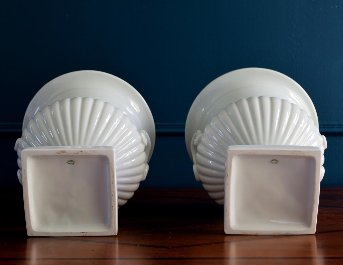 Paire de Vases Porcelaine blanche Limoges-photo-4