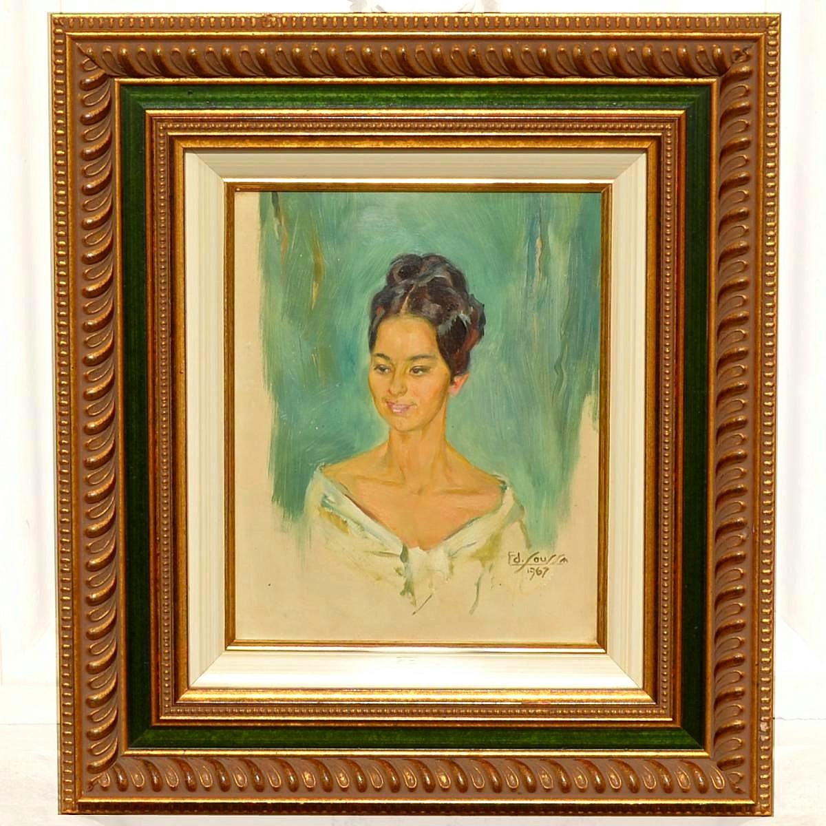 Portrait de jeune femme par Edmond Soussa