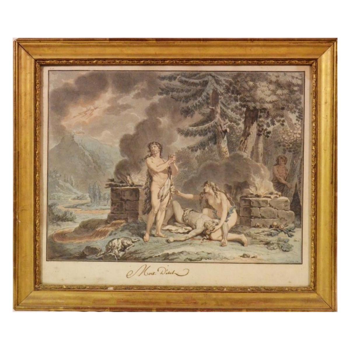 Gravure colorée La mort d'Abel Le Barbier L'Ainé XVIIIè