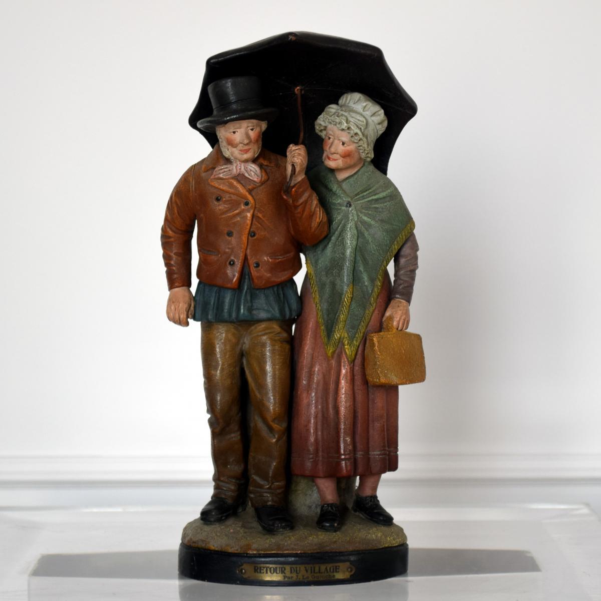 Sculpture terre cuite par Joseph Le Guluche et L.A. Hanne