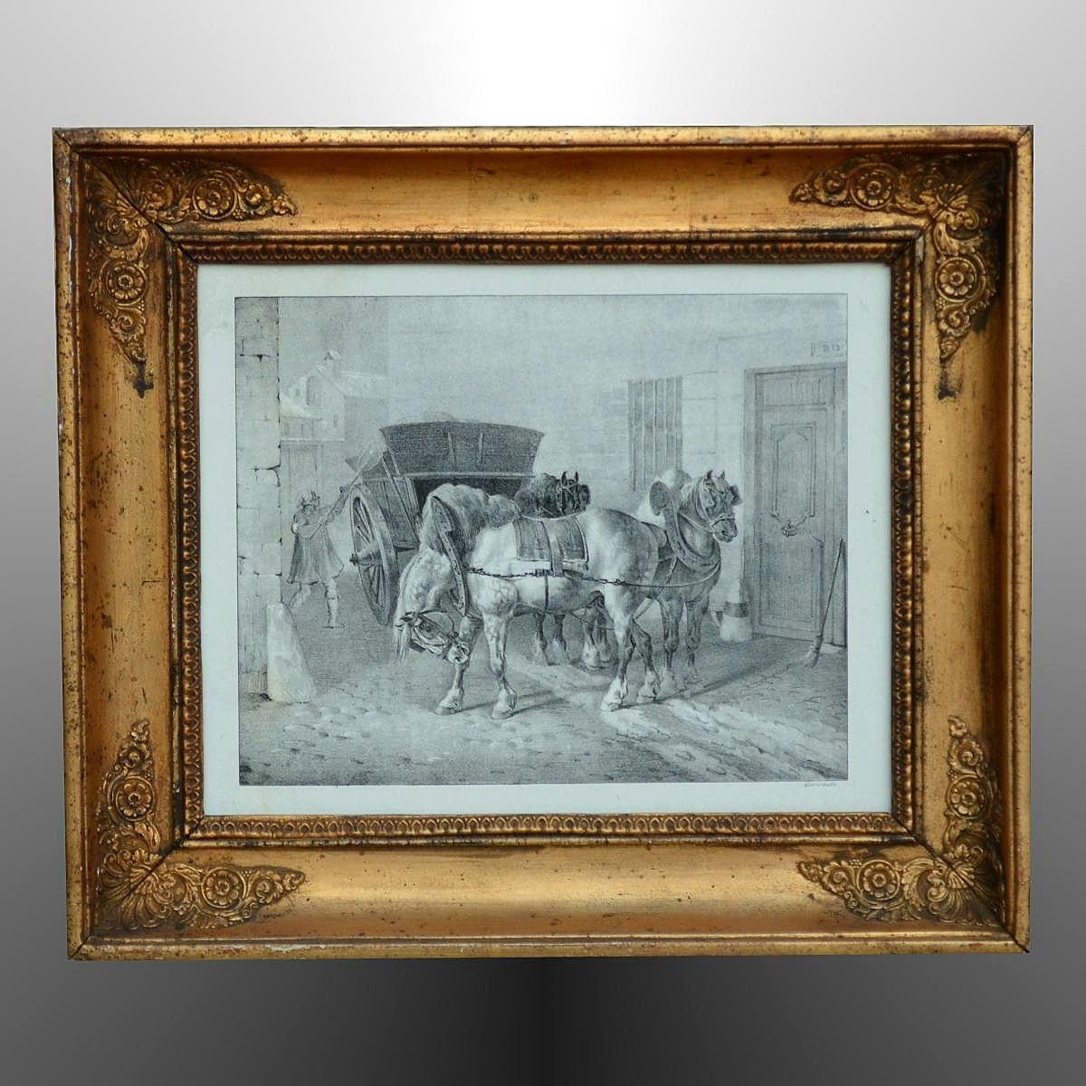 """Théodore Géricault Lithographie """"Les Boueux"""" 1823"""