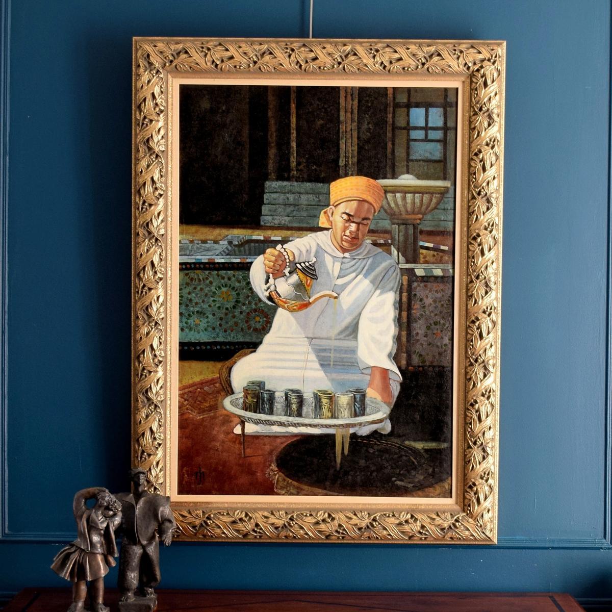 l'heure du thé Grande peinture orientaliste