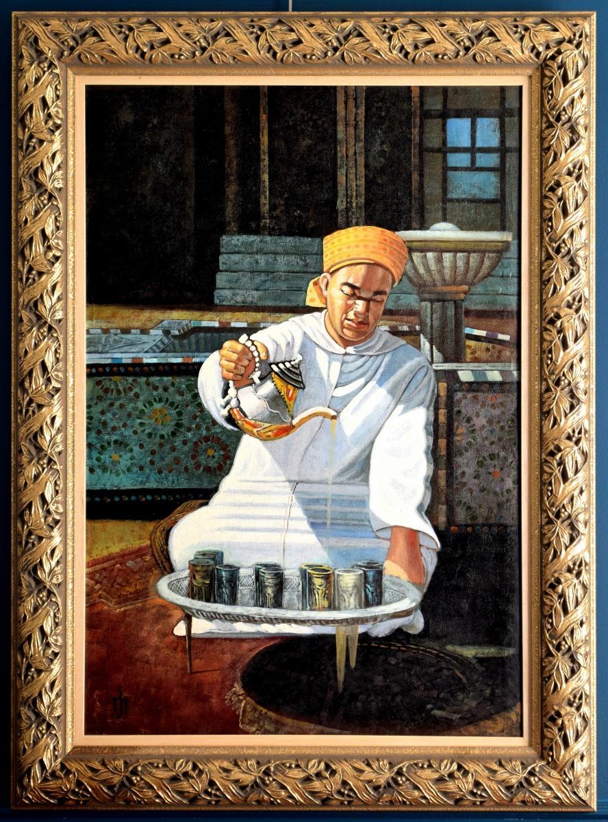 l'heure du thé Grande peinture orientaliste -photo-2