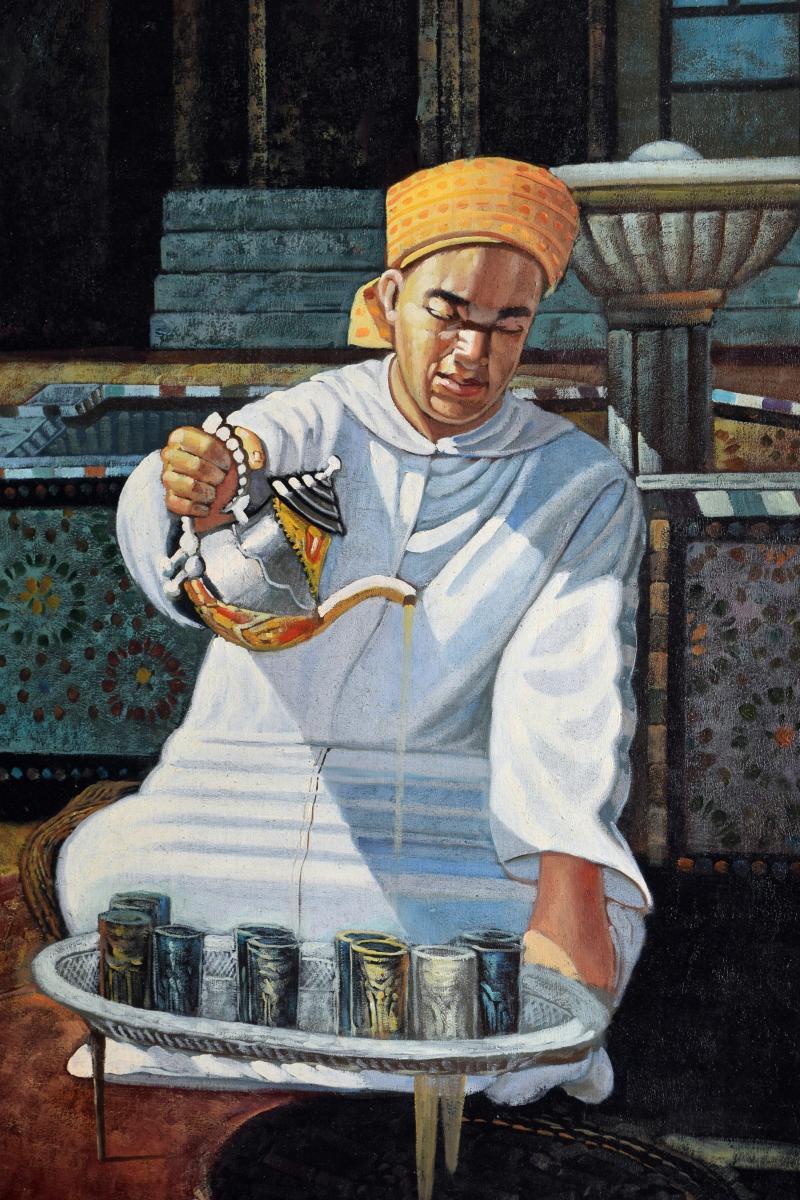 l'heure du thé Grande peinture orientaliste -photo-1