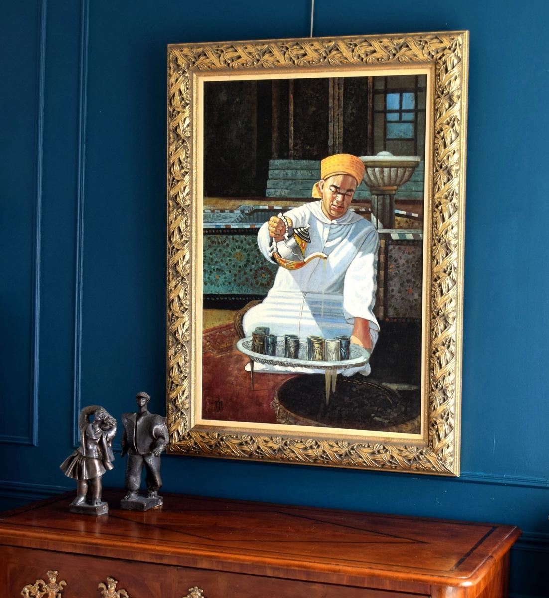 l'heure du thé Grande peinture orientaliste -photo-3