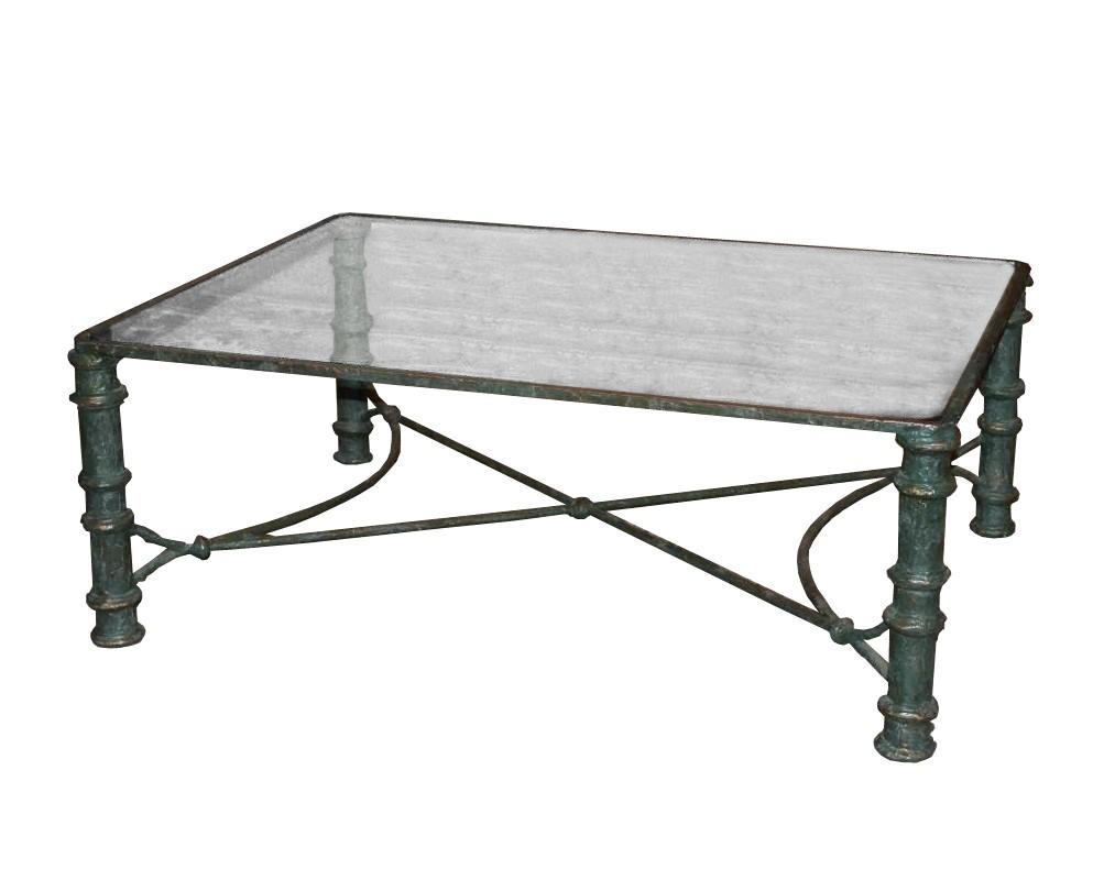 Grande table basse bronze et verre Circa 1960