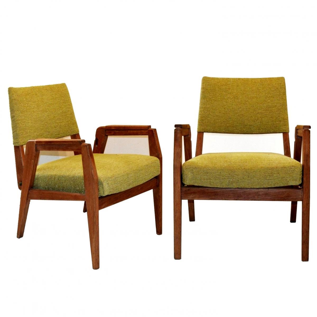 Paire de fauteuils design années 50 à hauteur réglable