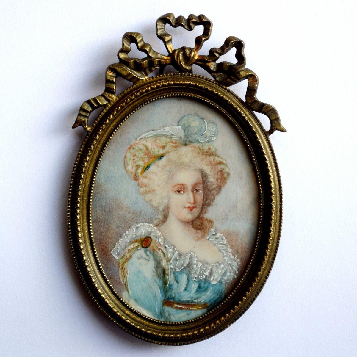 Miniature sur ivoire Marie-Antoinette d'Autriche