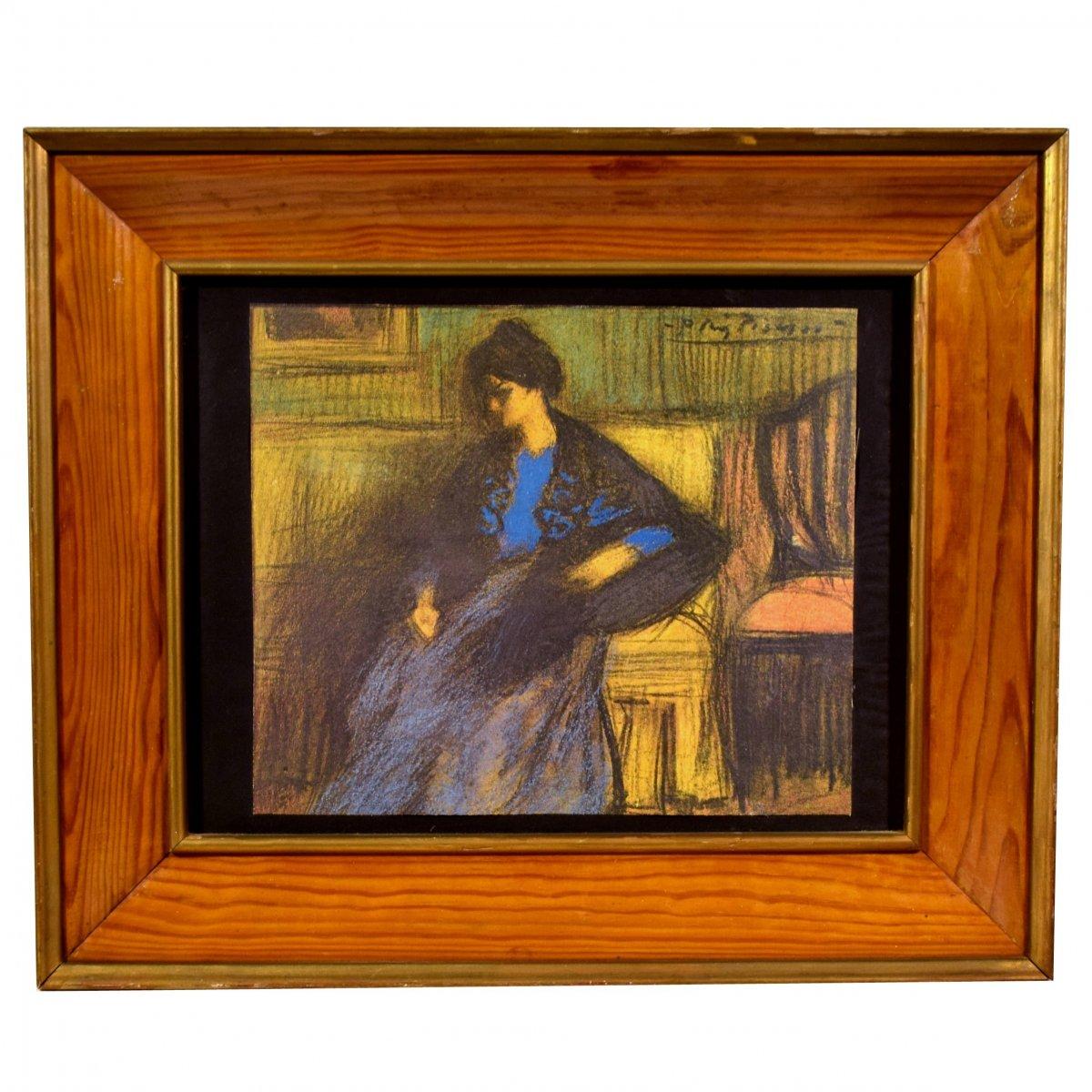 Sérigraphie sur toile d'après Pablo Picasso La femme au châle