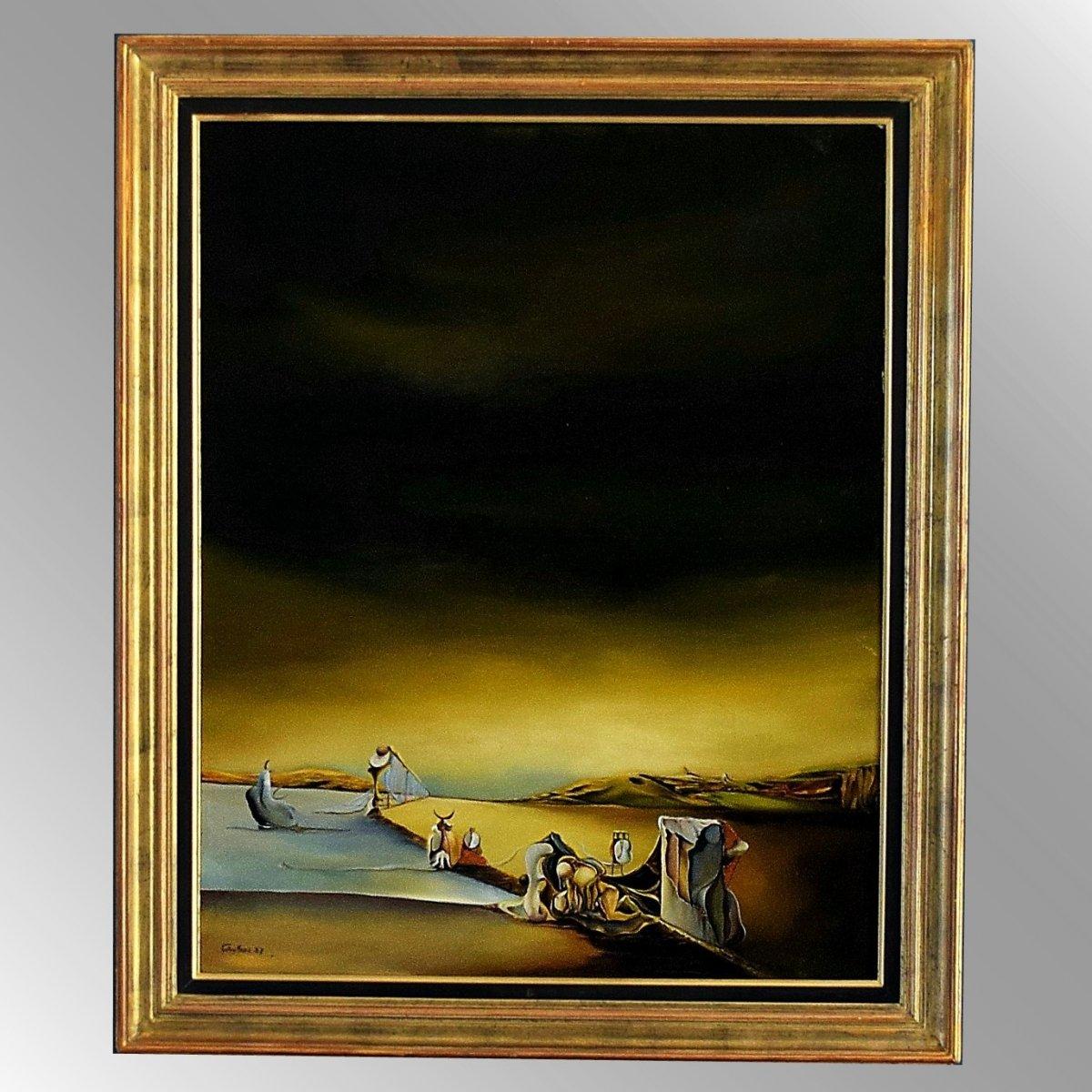 Grande peinture surréaliste signée Faky Sard