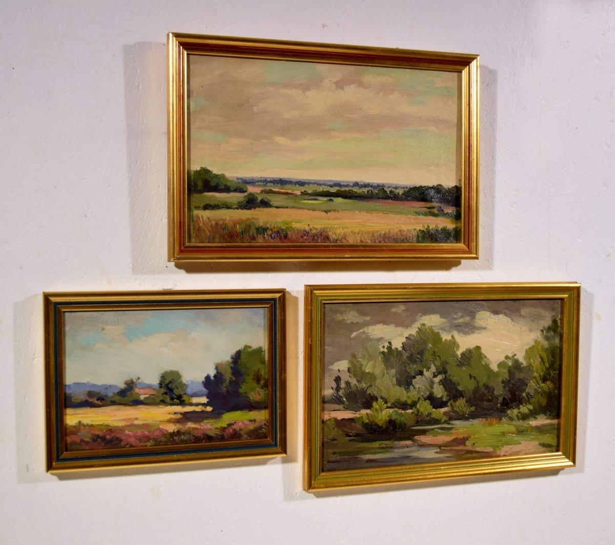 Trois paysages de Sologne par Maurice Golleau (1897-1970)