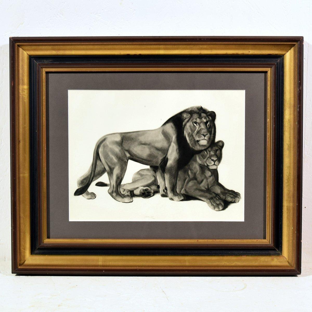 Lithographie Georges Lucien Guyot Couple de lions