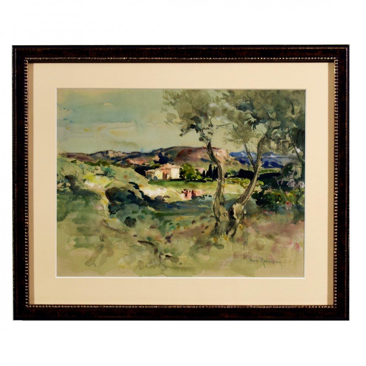 Aquarelle gouachée par Henri Emilien Rousseau Paysage de Provence