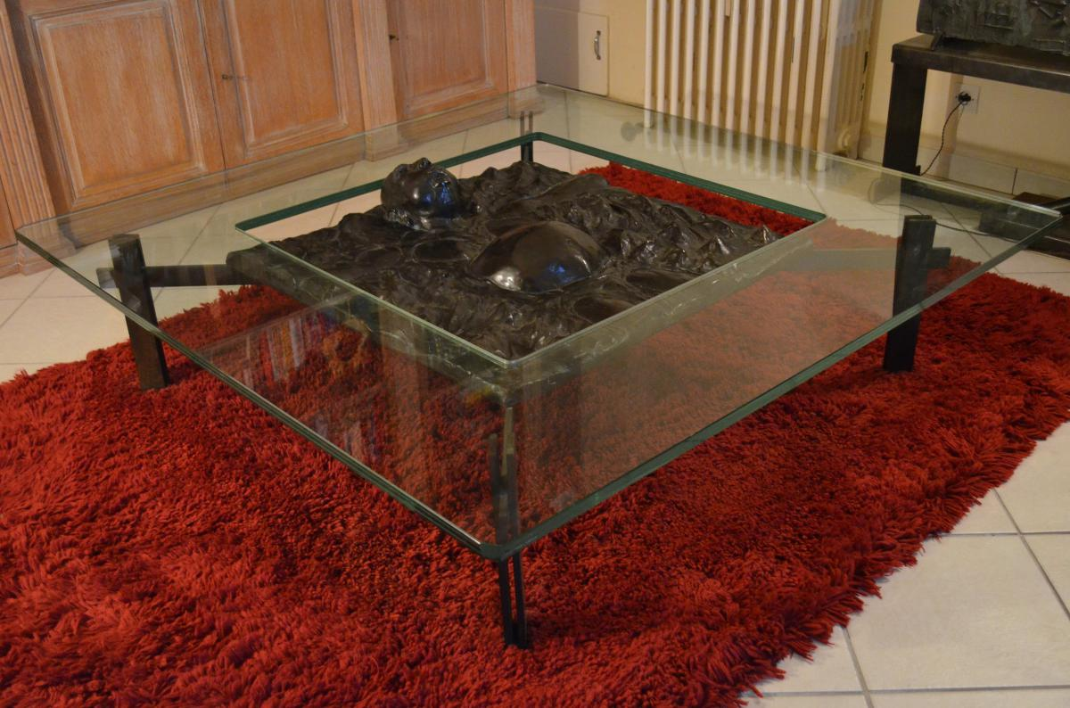 Table basse à importante sculpture bronze Thierry Blum