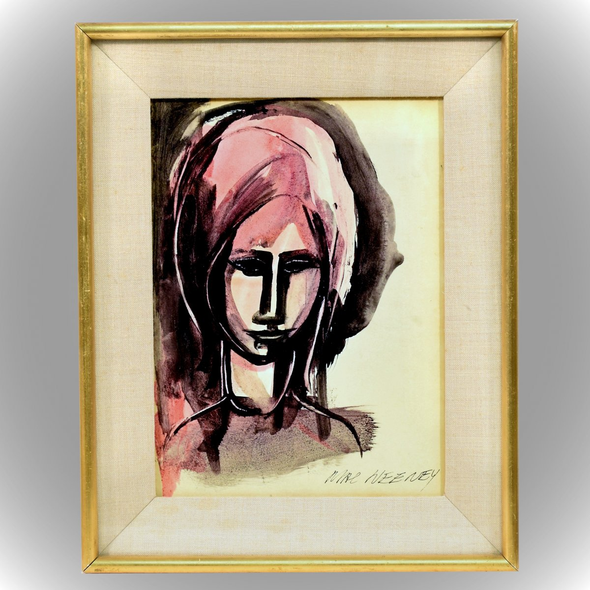"""Aquarelle """"Sad Head II"""" par Leslie MacWeeney"""