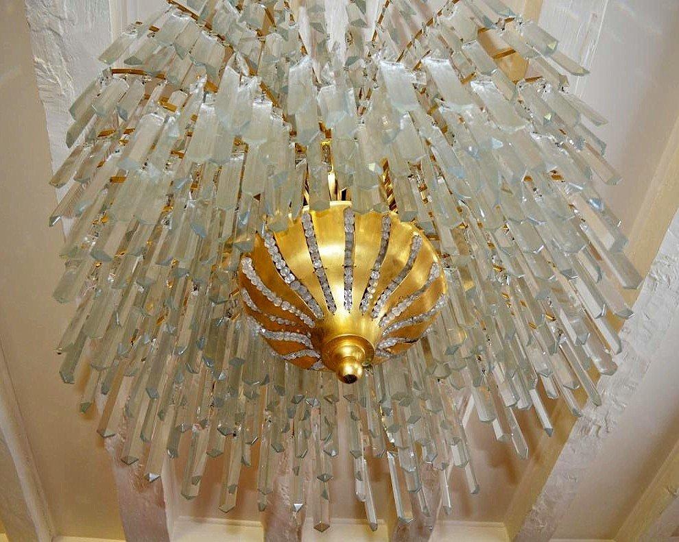 Important Lustre Art Déco Bronze Et Cristal 649 Pampilles-photo-3