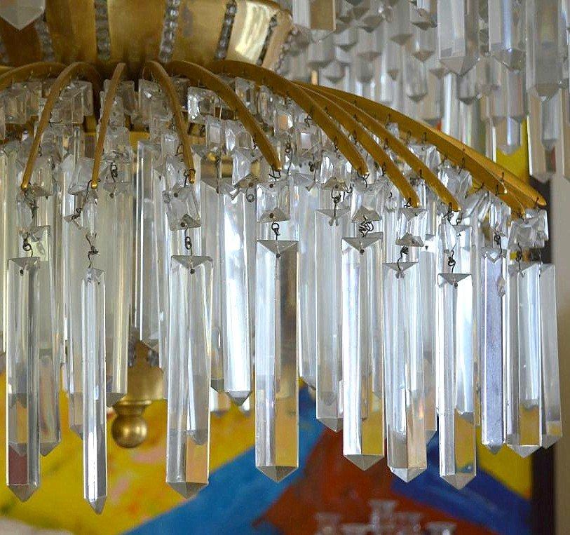 Important Lustre Art Déco Bronze Et Cristal 649 Pampilles-photo-5