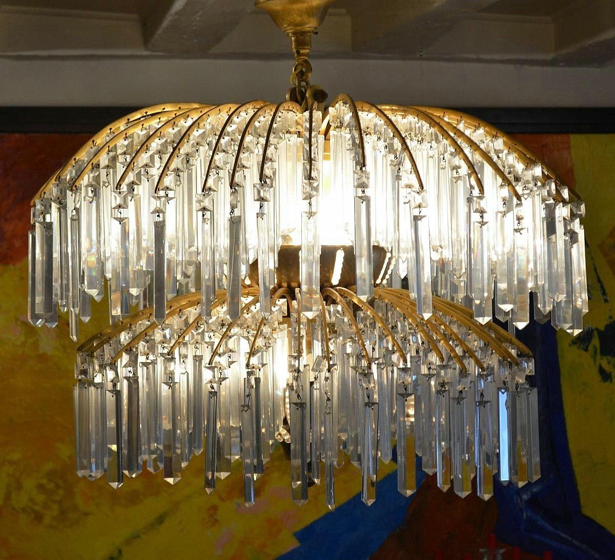 Important Lustre Art Déco Bronze Et Cristal 649 Pampilles
